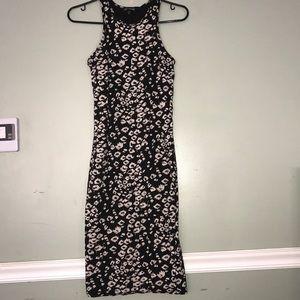 Express Bodycon Blk+Wht Cheetah Printed Dress